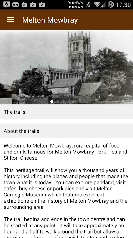 Melton Mowbray Heritage Trail- screenshot