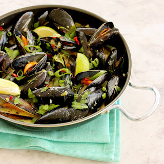 Mussels with Homemade Thai green curry.