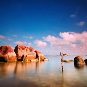 Calm of Blue to Brown by Alfonso Reno - Landscapes Waterscapes