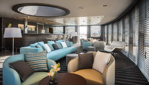 Relax in the lounge of Le Soleal. The Ponant ship sails the world from Easter Island to Copenhagen to Tahiti.