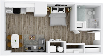 Go to Studio, One Bath Floorplan page.