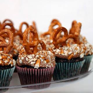 Chocolate Beer Pretzel Mini Cupcakes.