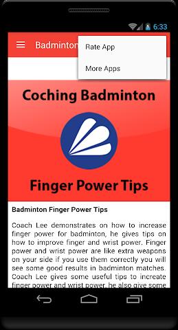 android Badminton Finger Power Tip Screenshot 3