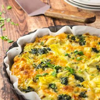 Spinach, Artichoke & Aged Cheddar Crustless Quiche.