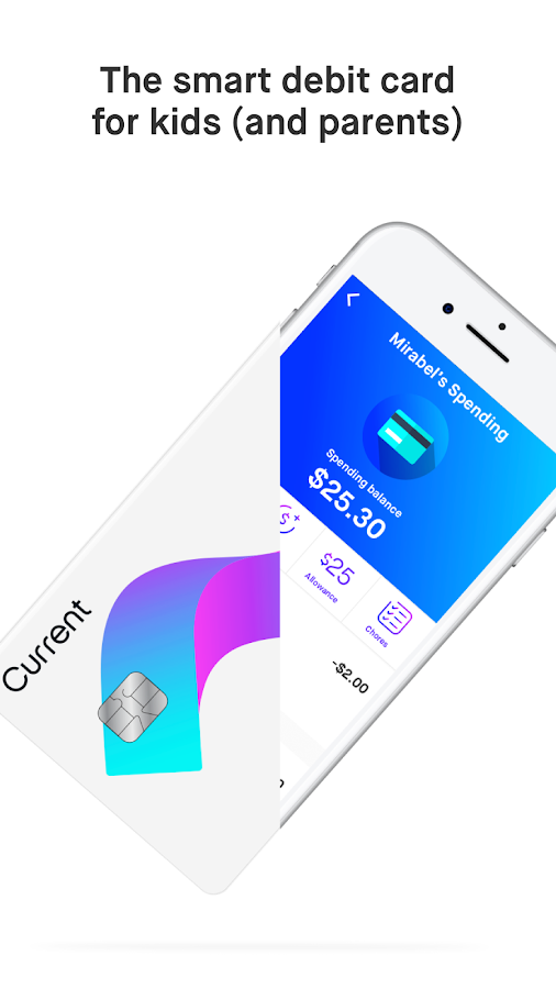 Current debit card and app made for teens- screenshot