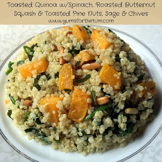 Toasted Quinoa w/Spinach, Roasted Butternut Squash & Toasted Pine Nuts, Sage & Chives.