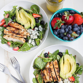 Gorgonzola Chicken Salad with Berries and Avocado.