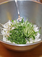 Photo: cut long beans, julienned cucumber and bean sprouts added to cooked rice
