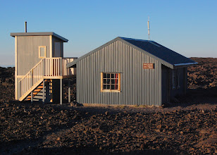 Photo: Mauna Loa Cabin, elevation 13,250 ft. The Park Service recently installed a composting toilet (left), but there's not much use for compost up here. Will they chopper it out?
