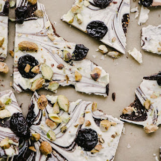 White and Dark Chocolate Bark with Cherries and Pistachios Recipe