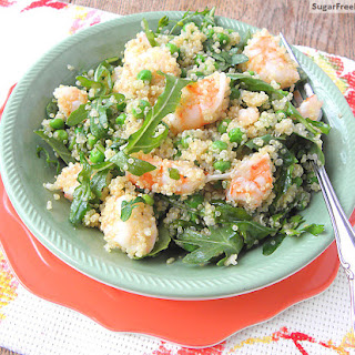 Lemon Garlic Shrimp with Quinoa, Arugula & Peas