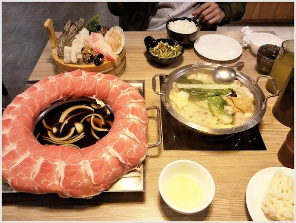 大鍋頭海鮮鍋物美術青海店~讓人嗨到轉圈圈的超狂肉圈圈,壽喜昆布2種湯頭一次到位,超滿足!