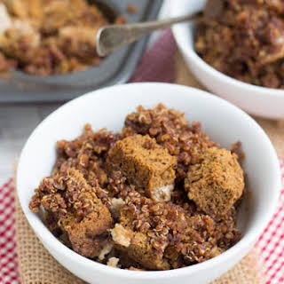 Pumpkin Bread Pudding with Cinnamon-Sugar Quinoa Topping.
