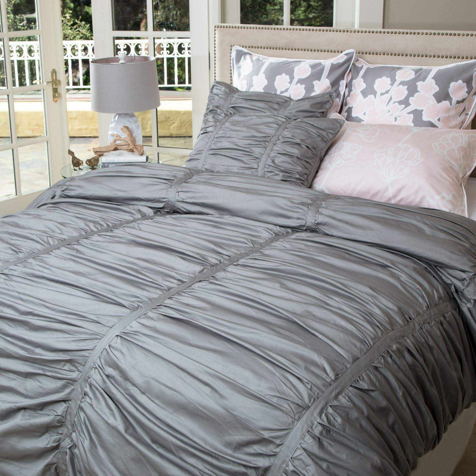 Bedding of the Day: Our Gray Ruffled Mirabel Duvet | Crane ...