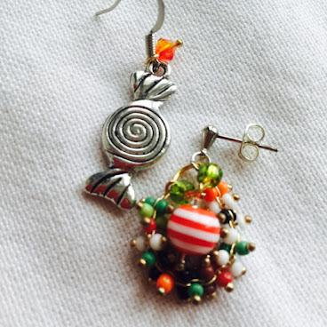 彩珠糖果耳環