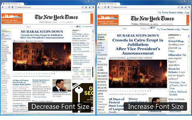 Font Size Decrease