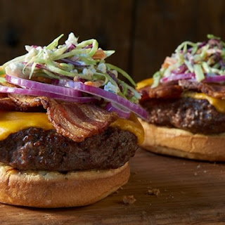 Bacon Cheeseburgers with Blue Cheese Coleslaw.