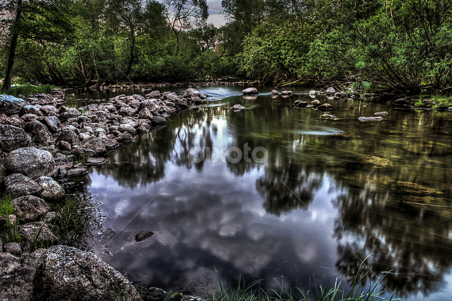 Ealry morning by a  small stream by Stefan Johansson - Landscapes Forests ( water, sweden, stream, reflection, smooth, europe, hdr, wood, scandinavia, green, lake, forest, morning, landscape, östergötland, nature, trees, summer, sunrise, rocks, early )