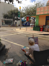 Photo: Artist Cat Albert painting by Lake Ave in Lake Worth, FL 12-5-13