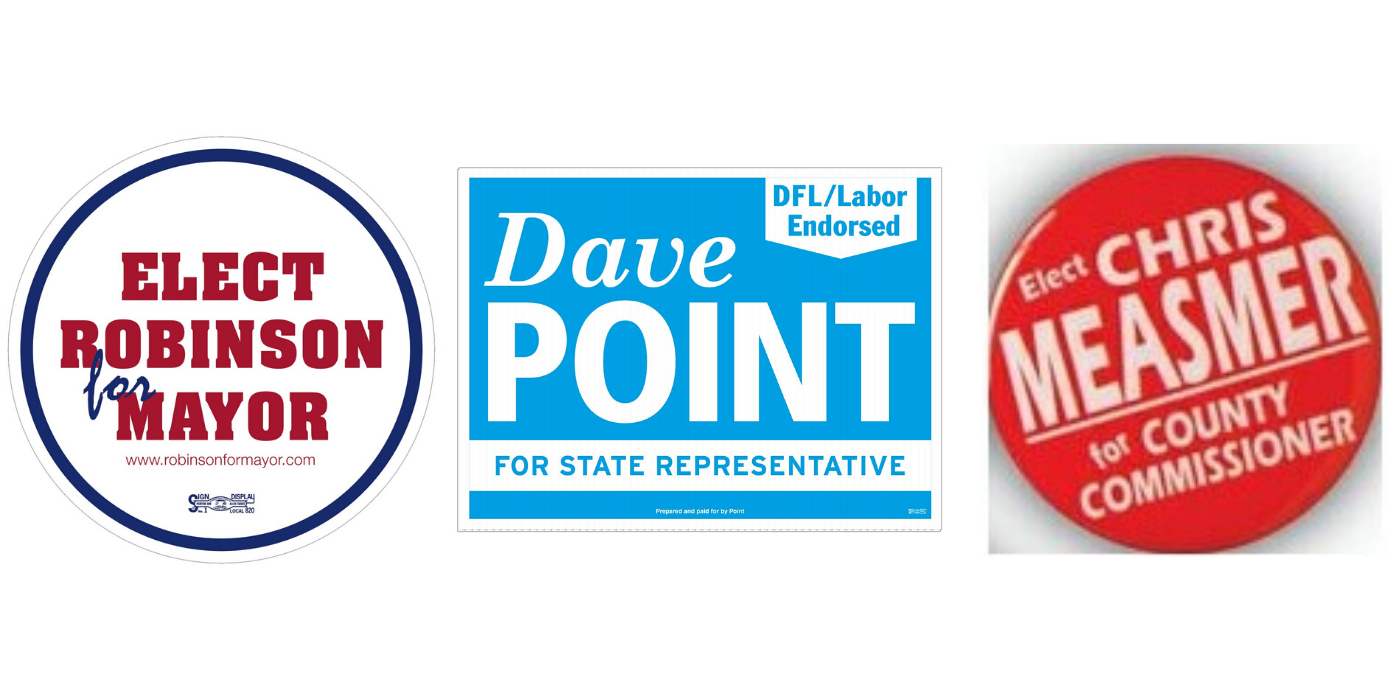 bumper stickers, yard signs, campaign buttons