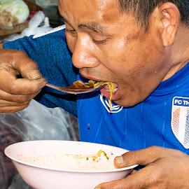 Noodles On The Go Thai Street Trader by James Morris - Food & Drink Eating ( market, noodles, thailand, thai street trader, travel, food )