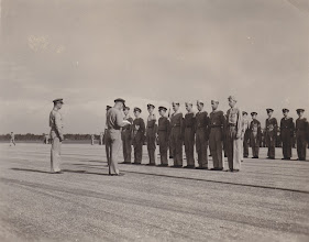 Photo: Receiving Presidential Unit Citation. Ft. Myers Air Base.  Ft. Myers, FL.  Spring 1942.