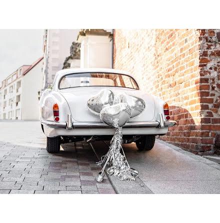 Dekorationskit till bröllopsbilen - Hjärtan silver
