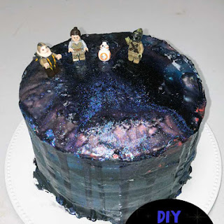 Star Wars Inspired Galaxy Cake with Mirror Glaze Recipe