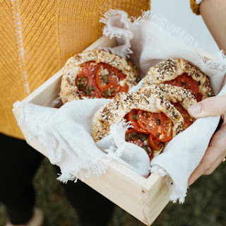 Everything Bagel Galettelettes With Tomatoes, And Scallion Cream Cheese.