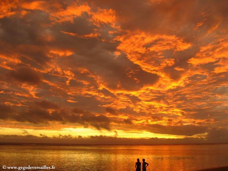 Photo: #193-Coucher de soleil sur la plage de l'Hermitage aux Villas du Lagon
