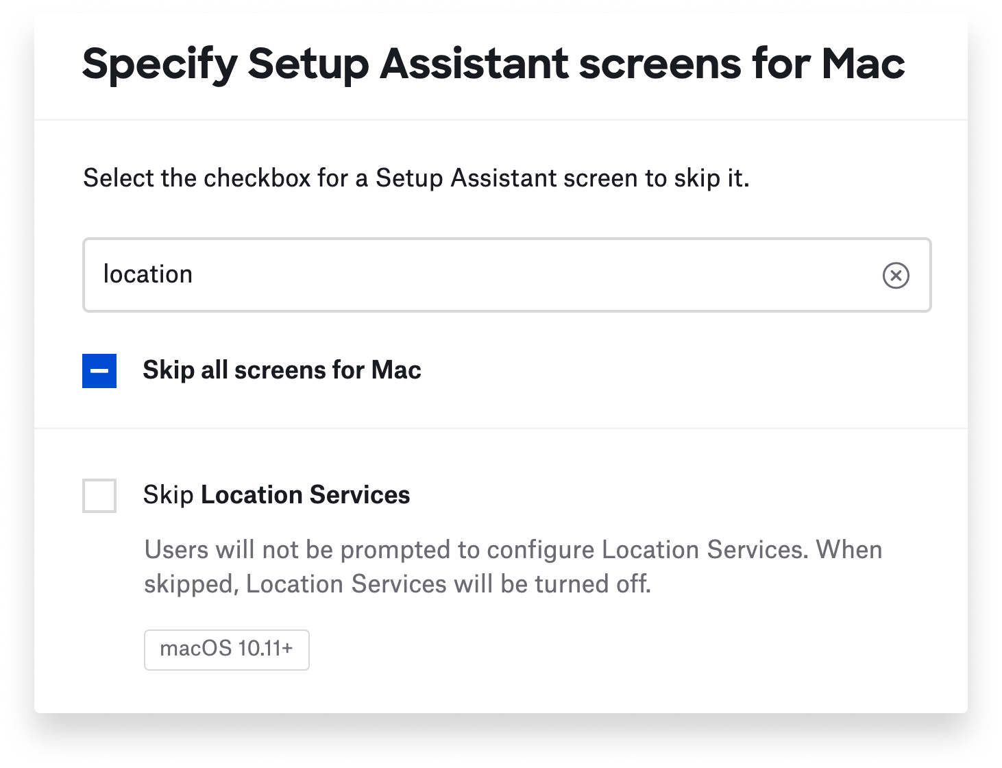 Searching for Setup Assistant screens to skip.