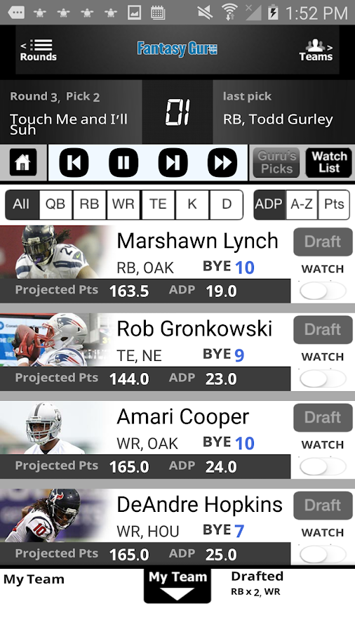 Draft Guru by FantasyGuru.com- screenshot