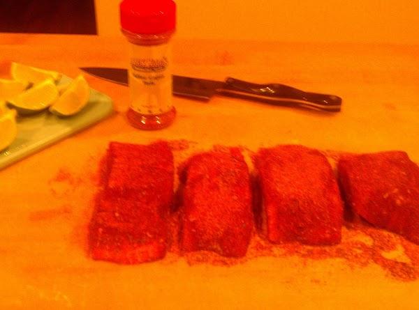 Combine Cajun Seasoning, Brown Sugar and Kosher Salt in a small bowl.  On...
