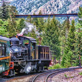 Georgetown Loop Railroad by Brian Kerls - Transportation Trains ( train tracks, mining, machinery, railroad, railways, old west, travel, transportation, landscape, americana, mountains, rail, train, georgetown colorado, trains, steam engine, evergreens, western u.s., hdr, vintage, green, colorado, georgetown loop railroad, forest, narrow gauge, destination, western usa, railway, color, bridge, historical, antique, steam )