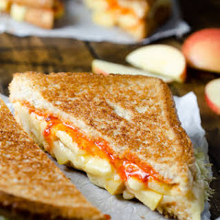 Grilled Cheese and Apple Sandwich with Sriracha Butter.