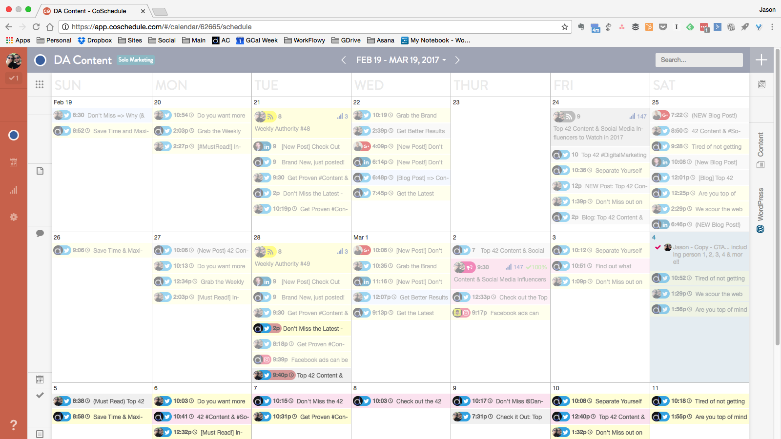 An example of Digital Authority's editorial calendar on CoSchedule