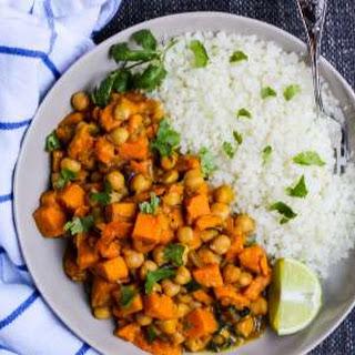"Vegan Sweet Potato and Chickpea Curry Over Cauliflower ""Rice""."