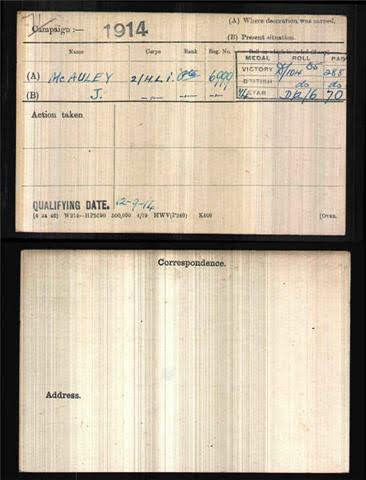 James McAuley's Medal Index Card