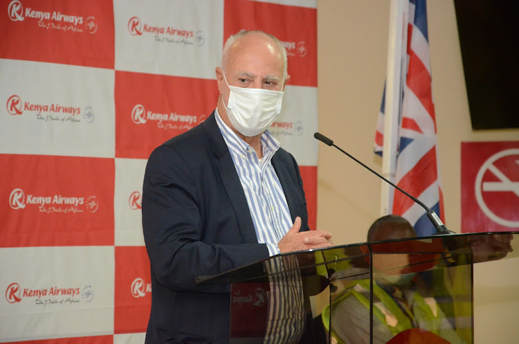 Kenya Airways chairman Michael Joseph speaks during the resumption of flights with the first being to London