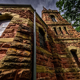 Red stone church by Vernie Gillespie - Buildings & Architecture Places of Worship ( clouds, church, red rock, architecture, close up )