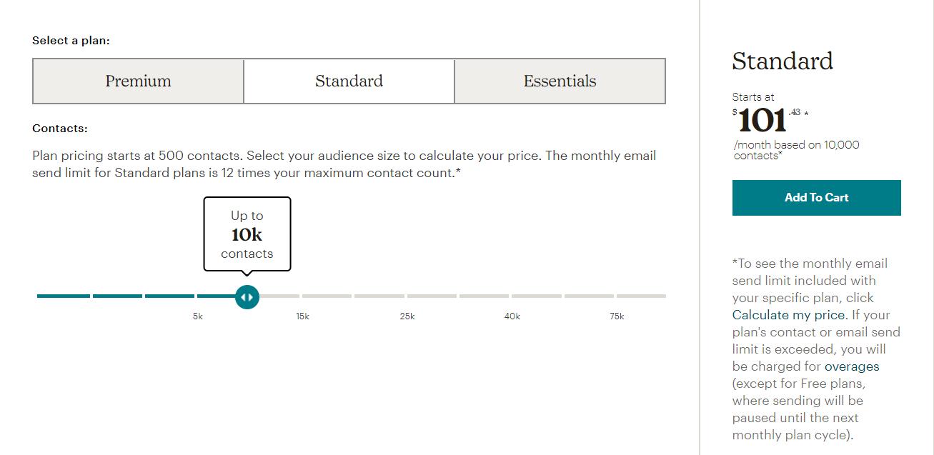 mailchimp pricing, mailchimp cost