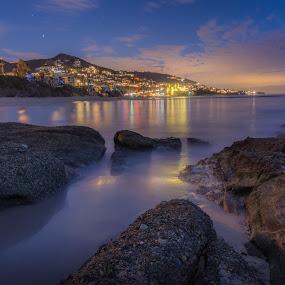Laguna Beach Blue Hour by Ruben Parra - Landscapes Waterscapes ( laguna beach, california, blue hour, ocean, long exposure, beach, seascape, rocks,  )