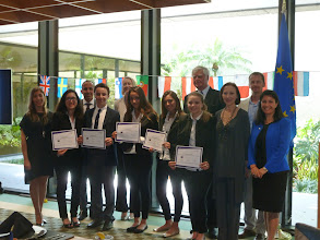 Photo: Euro Challenge Competition 2016 Recognition & Awards Ceremomy Federal Reserve Bank of Atlanta - Miami Branch - April 1st, 2016  Recognition of Florida high school winner: International Studies Preparatory Academy by the judges, the FED, ISPA Principal, Consul General of Italy and teacher, and competition organizer