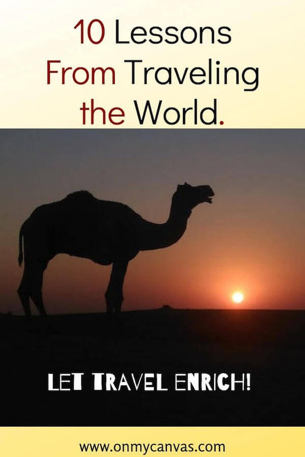 pinterest image for article on lessons from traveling the world