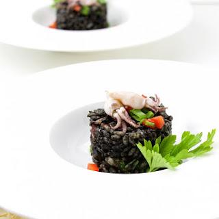 Arroz Negro with mini Squids and Shrimps