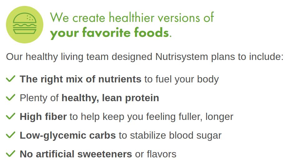 Nutrisystem proporciona versiones más saludables de alimentos comunes.