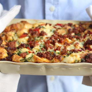 Spicy Breakfast Strata with Chorizo, Red Pepper, and Cheddar