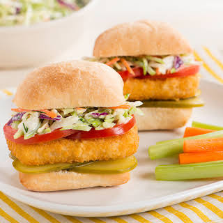Fish Sandwich with Tangy Dill Coleslaw.