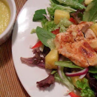Chicken and Spring Mix Salad with Spicy Pineapple Dressing.