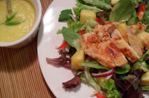 Chicken and Spring Mix Salad with Spicy Pineapple Dressing Recipe